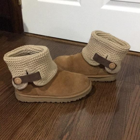 46bb80e145d Ugg Chestnut Shaina Knit Sheepskin Boots size 9